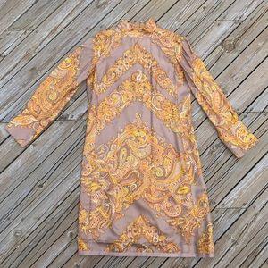 VINTAGE ILGWU 60s Paisley Satin Dress